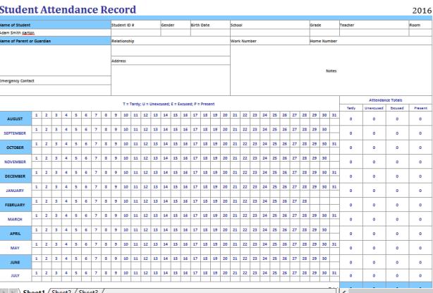 Open Office Student Attendance Sheet
