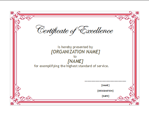 OpenOffice Certificate of Excellence Template